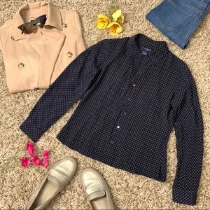Ann Taylor 100% Silk button-up blouse in dots